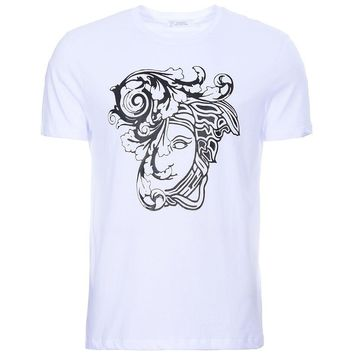 VERSACE COLLECTION Medusa Head Motif Printed Logo White T Shirt UK L £107 RRP