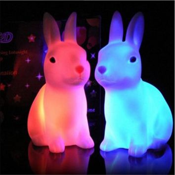 1PCS Newest Led Night Lamp Rabbit Lamp Kids Light Favor Gift Toy RGB Color Changing Art Decor Led Lighting