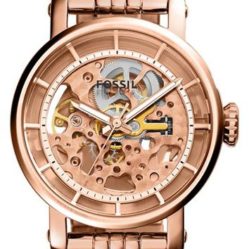 Women's Fossil 'Original Boyfriend' Skeleton Dial Automatic Bracelet Watch, 38mm - Rose Gold