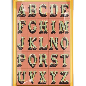 Alphabet Coral Fancy Lettering Decoupage Glass Tray