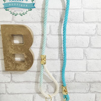 Ombre bahama blue cotton rope lead - organic rope dog leash - twisted cotton rope dog lead