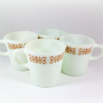 Pyrex Filigree Mugs Coffee Mug Cups Set Copper Brown Filigree Tableware By Corning