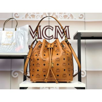 MCM Cognac Leather Essentials Studded Bucket Bag