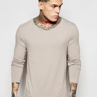 ASOS Extreme Muscle Long Sleeve T-Shirt With Drape Neck In Gray