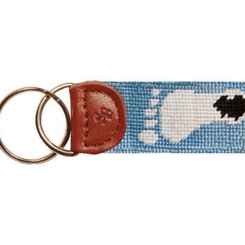 UNC Tar Heel Logo Needlepoint Key Fob in Carolina Blue by Smathers & Branson