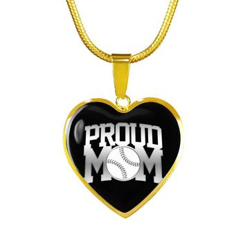 Proud Baseball Mom Gold Luxury Heart Necklace