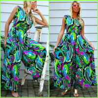 Vintage 60s Man Men Jumpsuit Cocktail Dress Psychedelic Maxi Dress 70s Mod Dress Romper Hostess Dress Palazzo Pant suit Hawaiian Jumper S M