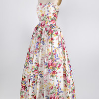vintage 1950s white silk floral ball gown [Rococo Garden Ball Gown] - $498.00 : ADORED | VINTAGE, Vintage Clothing Online Store