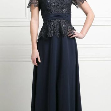 Short Sleeve Lace Overlay Mother of Groom Dress Navy Blue