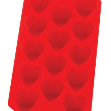 HIC Red Silicone Heart Shaped Ice Cube Tray and Baking Mold
