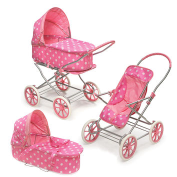 Badger Basket 3-in-1 Doll Pram, Carrier, & Stroller - Pink