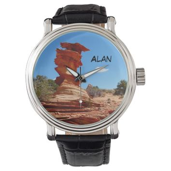 Custom Name Wrist Watch, Rock Formation Wrist Watch