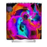 Beautiful Sloppy Rainbow Abstract Shower Curtain