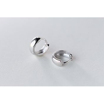 (Dia.8mm Small earrings) REAL. 925 Sterling Silver Jewelry High Polished Rounded Hoop Huggie Earrings for Child lady's GTLE1491