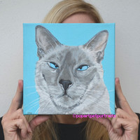 Siamese Cat Painting, Custom Cat Painting, Siamese painting, Acrylic painting, Cat Art