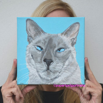 Custom pet portrait, Custom Cat Painting, Cat Painting, Siamese painting, Cat Art