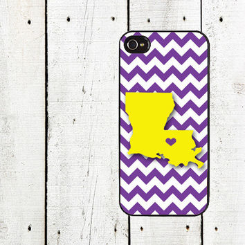 Louisiana Chevron Cell Phone Case - State Silhouette Cell Phone Case - Chevron iPhone 5 - iPhone 4,4s - Purple and Gold