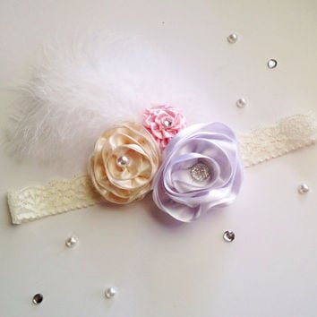 Vintage Headband, Flower Headband, Wedding Lace Flower Headwrap, Pearl Headpiece, Feather Headband, 1920s hair accessories