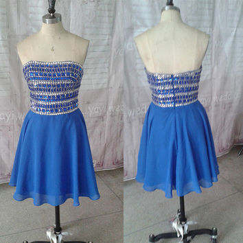Royal Blue Chiffon Strapless Crystals Zipper Back A-line Short Homecoming Dresses 2014 Short Prom Dress Sweet 16 Dress