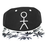 Stickman Snapback Hat (Nylon) - Black / White / Palm Tree Brim