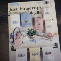Cross Stitch Pattern Booklet Just Fingertips 10 Borders for Bath Towels