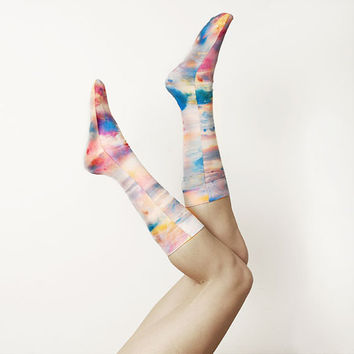 Hand Printed Socks -- Paris Skies Sunset Print