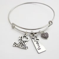 Army Bracelet ~ I Love My Soldier Expandable Hand Stamped Charm Bangle, Gift for Military Army Wife Girlfriend Sister Mom Grandmother