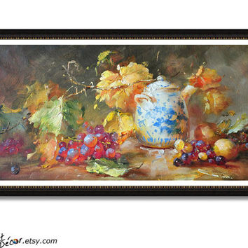 Fruit Still Life Oil Painting, Textured Painting, Horizontal Art, Oil On Canvas, Large Canvas Painting, Dinning Room Wall Art.