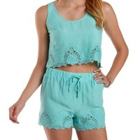 Opal Embroidered Boxy Crop Top by Charlotte Russe