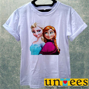 Elsa and Anna Frozen Christmas Disney Princces Women T Shirt