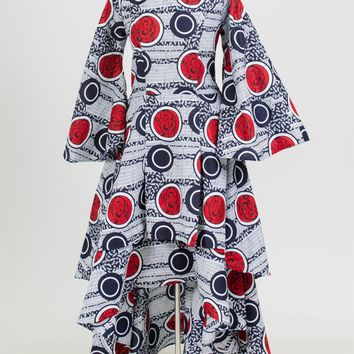 NF 7077 High Low Authentic African Print Dress