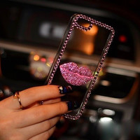 3D Diamond Rhinestone Lips Clear Bling Case For iPhone Samsung and Lenovo