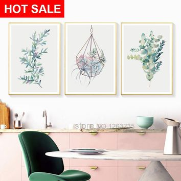 Flowers Potted Succulent Plants Wall Art Canvas Painting Posters Nordic Poster Picture Wall Pictures For Living Room Unframed