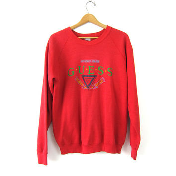 GUESS sweatshirt vintage Red pullover sweater Distressed 1980s preppy revival top women's size Large