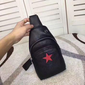 GIVENCHY MEN'S RED STAR LEATHER CHEST PACK BAG CROSS BODY BAG