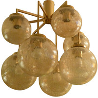 1STDIBS.COM - Flessas Design - Brass and Glass Eight-Arm Chandelier