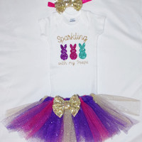 Sparkly Easter Outfit - Little Girl One Piece Outfit - Easter Peeps Outfit - Easter Tutu - Easter Tutu One Piece Outfit - Easter Gift