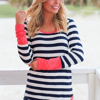 Navy and Coral Striped Top with Buttons