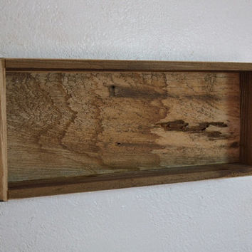 Recycled wood shadow box wall shelf 20 wide