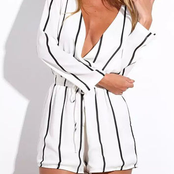 White Striped V-Neck Long Sleeve Drawstring Romper