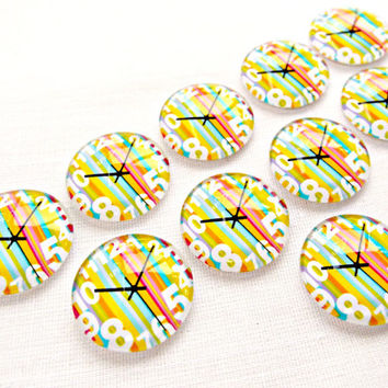 Glass Clock Cabochon, Striped Cabochon, 20mm Round Cabochon, Round Glass Clock Face Cabochon, Flatback Cabochon, UK Seller, Jewelry Supplies