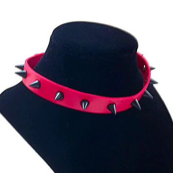 Black Spiked Vegan Leather Punk Goth Choker Red Necklace