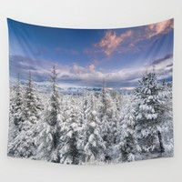 """Mountain Light III"" Snowy Forest At Sunset Wall Tapestry by Guido Montañés"