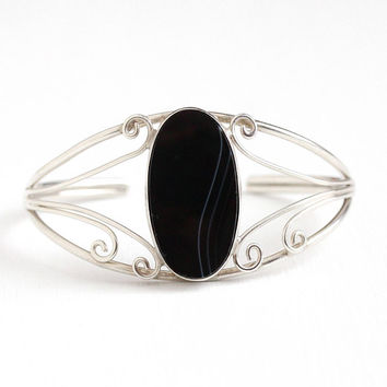 Vintage Sterling Silver Black & White Onyx Cuff Bracelet - Retro 1970s Southwestern Banded Oval Chalcedony Gem Statement Coiled Jewelry