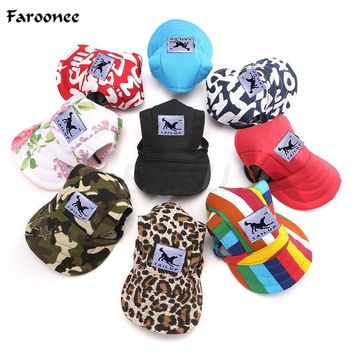 Faroonee Dog Hat With Ear Holes Summer Canvas Baseball Cap For Small Pet Dog Outdoor Accessories Hiking Pet Products 7A0138