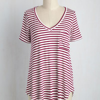 Packing Preserves Top in Maroon Stripes | Mod Retro Vintage Short Sleeve Shirts | ModCloth.com