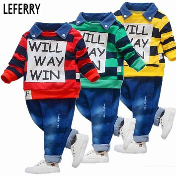 Baby Boys Clothing Set Striped Polo Shirt + Jeans Korean Children Clothing Kids Clothe