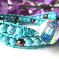 Turquoise Gemstone Chocolate Glass Pearl Leather Wrap Bracelet | specialtivity - Jewelry on ArtFire