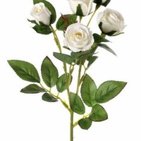 "Faux Perfume Rose Spray in White - 17"" Tall"