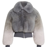 Grey Degrade Fox Cropped Bomber Jacket by Marc Jacobs - Moda Operandi